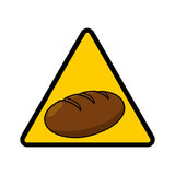 Gluten and wheat allergy warning sign. Bread warning illustration; Gluten and wheat allergy warning sign Royalty Free Stock Photography