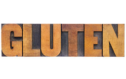 Gluten word in wood type Royalty Free Stock Images
