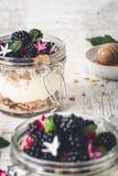 Glutenu Bezpłatny Granola z Kokosowym jogurtem i czernicy w słoju dla śniadania fotografia stock