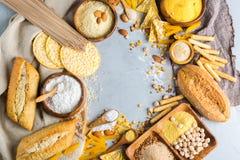 Glutenu bezpłatny jedzenie i mąka, migdał, kukurudza, ryż, chickpea zdjęcie stock