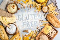 Glutenu bezpłatny jedzenie i mąka, migdał, kukurudza, ryż, chickpea zdjęcie royalty free