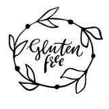 Glutenu wolna ręka rysujący logo, etykietka z kwiecistą ramą Wektorowa ilustracja eps 10 dla jedzenia i napoju, restauracje, menu Fotografia Stock