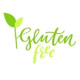 Glutenu wolna ręka rysujący logo, przylepia etykietkę, z liściem i flancą Wektorowa ilustracja eps 10 dla jedzenia i napoju, rest Obrazy Royalty Free