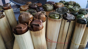 Glutinios bake in bamboo cylinder. Sweet food snack Royalty Free Stock Photography