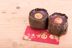 Glutinous rice cake with Good Luck in Chinese words Stock Images