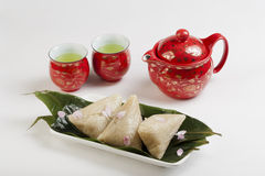 Free Glutinous Rice Dumplings And Tea Royalty Free Stock Photos - 59364358
