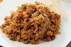 Glutinous rice. Fried Glutinous rice with vegetable Royalty Free Stock Image