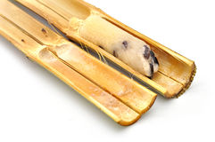 Glutinous rice roasted in bamboo joints Royalty Free Stock Photo