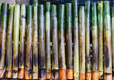Glutinous rice roasted bamboo joints Royalty Free Stock Images