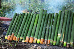 Glutinous rice roasted bamboo joints Royalty Free Stock Photography