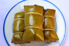 Glutinous rice steamed in banana leaf ( Khao Tom Mat or Khao Tom Stock Photography