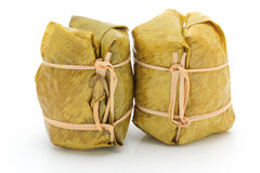 Glutinous rice steamed in banana leaf Royalty Free Stock Image