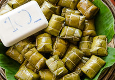 Glutinous rice steamed in banana leaf Royalty Free Stock Images