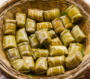 Glutinous rice steamed in banana leaf Stock Photography