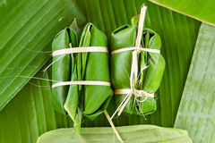 Glutinous Rice Steamed In Banana Leaf(Khao Tom Mat Or Khao Tom P Royalty Free Stock Photo