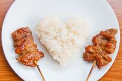 Glutinous rice thai style grilled pork Royalty Free Stock Photos