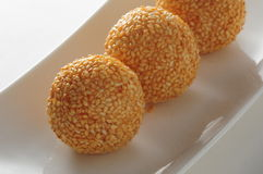 Glutinous sesame Ball. Fried Glutinous sesame Ball dim sum Stock Images