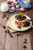 Glutten-free pancakes with jam and blueberries Stock Image