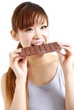 Gluttonous woman Royalty Free Stock Images