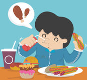 Gluttony, που τρώει πάρα πολύ λίπος Στοκ Εικόνες