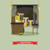 Gluttony concept vector illustration in flat style. Stock Images