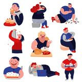 Gluttony Habits lat Icons Set. Gluttony over-consumption of food and drink flat icons collection with overweight eating people isolated vector illustration Royalty Free Stock Photography