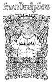 Gluttony. Latin word Gula means Overweight or Obesity. Seven deadly sins concept, black and white line art. Hand drawn engraved illustration, tattoo and t-shirt Stock Image
