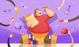 Gluttony Leading To Obesity Poster. Gluttony leading to obesity cartoon poster with fat man holding hamburger and package of baked goods vector illustration Stock Photos