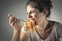 Gluttony of pasta royalty free stock image