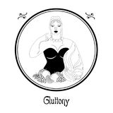 The gluttony sin black Royalty Free Stock Photo
