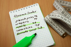 Glycemic index. Measuring tape, a marker and a notepad with a glycemic index royalty free stock photos