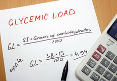 Glycemic load formula. Calculator, a marker and a paper with a glycemic load formula Stock Image