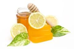 Glycerin soap, honey and lemon Royalty Free Stock Images
