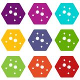 Glycine icons set 9 vector. Glycine icons 9 set coloful isolated on white for web Stock Photos
