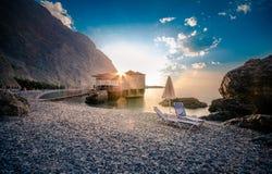 Glyka Nera beach, Crete. Glyka Nera beach (Sweet Water or Fresh Water). View of the remote and famous Sweet Water Beach in south Crete, with its unique tavern on Stock Images