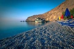 Glyka Nera beach, Crete. Glyka Nera beach (Sweet Water or Fresh Water). View of the remote and famous Sweet Water Beach in south Crete, with its unique tavern on Royalty Free Stock Photos