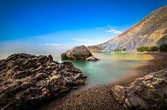 Glyka Nera beach, Crete. Glyka Nera beach (Sweet Water or Fresh Water). View of the remote and famous Sweet Water Beach in south Crete, with its unique tavern on Royalty Free Stock Photo
