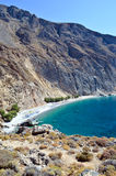 Glyka Nera beach. (Sweet Water or Fresh Water). View of the remote and famous Sweet Water Beach in south Crete. This is a nudist beach Stock Images