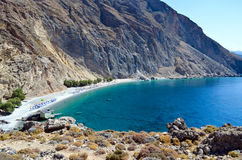 Glyka Nera beach. (Sweet Water or Fresh Water). View of the remote and famous Sweet Water Beach in south Crete. This is a nudist beach Stock Photo