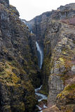 Glymur Waterfall at spring Royalty Free Stock Photography