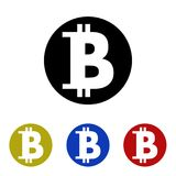 Icon bitcoin. Glyph icon bitcoin in glyph style Royalty Free Stock Photography