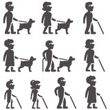 Glyph icons of blind people in different ages and gender with Stock Photography