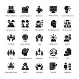 Business Management Glyph Icons. A glyph icons set of business management with all related icons. A wide range including financial aspects, market related Stock Photography
