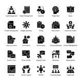 Business Management Glyph Icons Pack. A glyph icons set of business management with all related icons. A wide range including financial aspects, market related Stock Photo