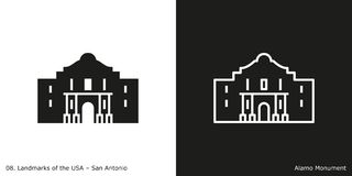 Alamo in San Antonio. Glyph and line style icon of Alamo in San Antonio, Texas, USA vector illustration