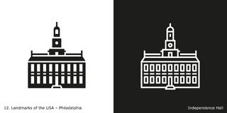 Independence Hall in Philadelphia. Glyph and line style icon of Independence Hall in Philadelphia, USA Royalty Free Stock Photos