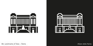 Altare della Patria Icon. Glyph and line style icon of Rome`s famous landmark building Royalty Free Stock Image