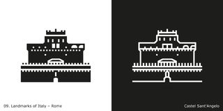 Castel Sant`Angelo Icon. Glyph and line style icon of Rome`s famous landmark building Stock Photos