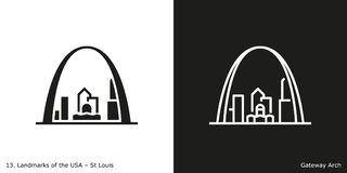 Gateway Arch in St. Louis. Glyph and line style icons of Gateway Arch in St Louis on black and white backgrounds, New Orleans, USA vector illustration