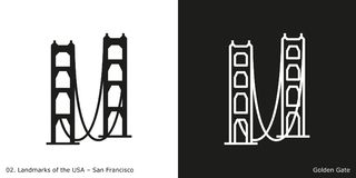 Golden Gate bridge in San Francisco. Glyph and line style icons of Golden Gate Bridge in San Francisco on black and white background, California, USA Stock Images